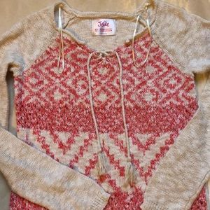 Cute cream and pink Justice sweater